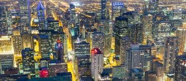 Загоренные здания небоскреба, взгляд ночи Стоковые Изображения RF
