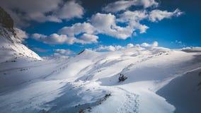Загоренные снежные горы Стоковая Фотография