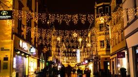 Загоренные улицы на рождестве стоковое изображение rf