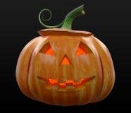 Загоренный Джек-o-фонарик тыквы хеллоуина Стоковая Фотография