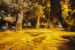 Загоренный переулок к ноча Стоковое Изображение RF