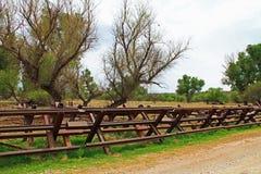 Загородка границы реки отделяя США от Мексики около Nogales, Аризоны стоковые изображения