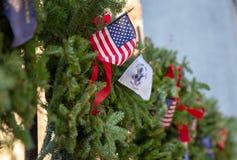 Загородка украшенная на праздники стоковые изображения