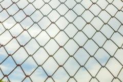 Загородка ячеистой сети металла стоковые фотографии rf