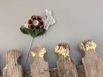 Загородка затрапезного шикарного клапана spigot охмеления зайчика металла деревенская огорчила деревянного кролика счастливой сер Стоковые Фото