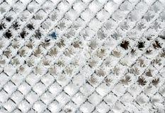 Загородка звена цепи покрытая кристаллами заморозка, Стоковое Фото