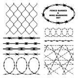 Загородка колючая и комплект barbwire провода иллюстрация штока