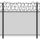Загородка металла уединения тюрьмы с силуэтом вектора колючей проволоки безшовным черным бесплатная иллюстрация