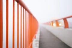 Загородка моста с светами корабля в предпосылке Стоковые Фото