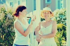 загородка около 2 женщин калитки Стоковая Фотография