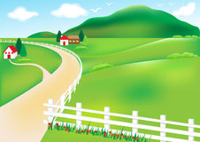 Загородка сельских и дома белизны Стоковые Фотографии RF