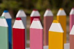 Загородка сделанная из больших карандашей Стоковые Изображения
