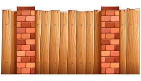 Загородка сделанная древесины и кирпичей иллюстрация вектора