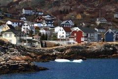 Загородные дома на береге бухты Ньюфаундленда Канады Brigus Стоковое Изображение RF