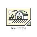 Загородный дом, ландшафт фермы, складское здание Стоковая Фотография