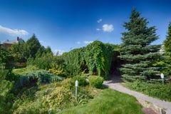 Загородный дом, недвижимость, архитектура, дизайн ландшафта, заводы Стоковое Изображение