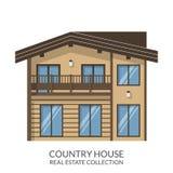 Загородный дом, недвижимость подписывает внутри плоский стиль также вектор иллюстрации притяжки corel Стоковые Изображения RF