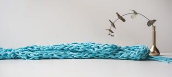 Заголовок, знамя для дизайна места Needlework, handmade вязать и вязать крючком, пряжа горизонтальный формат, космос для текста Стоковое Изображение