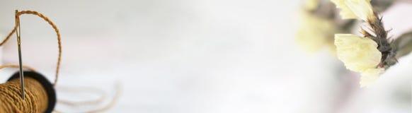 Заголовок, знамя для дизайна места Needlework, handmade Поток и орхидея катушки горизонтальный формат, космос для текста Стоковое Фото
