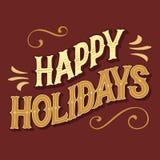 Заголовок счастливых праздников рук-lettered бесплатная иллюстрация