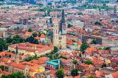 Загреб, вид с воздуха вертолета Стоковая Фотография