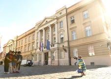 Загреб, Хорватия - 18-ое августа 2017: Хорватский парламент строит Стоковые Фото