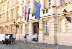 Загреб, Хорватия - 18-ое августа 2017: Хорватский парламент строит Стоковое Изображение