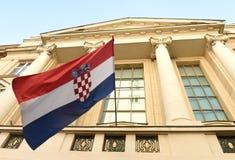 Загреб, Хорватия - 18-ое августа 2017: Хорватский флаг на Хорвате Стоковое Изображение RF
