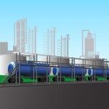 Загрузка нефтепродуктов на рафинадном заводе иллюстрация вектора