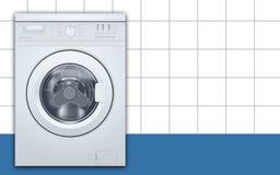 Загрузка стиральной машины передняя в пустой предпосылке прачечной Вид спереди, конец-вверх, закрытая дверь r бесплатная иллюстрация