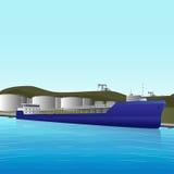 Загрузка топливозаправщика ‹â€ ‹â€ моря на нефтехранилище бесплатная иллюстрация