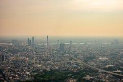 Загрязнение воздуха от серий пыли или PM2 частица 5 превышает стандарт на Бангкоке, Таиланде стоковая фотография rf