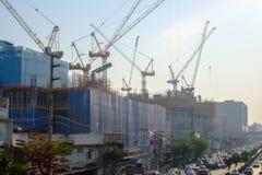 Загрязнение воздуха от серий пыли или PM2 частица 5 превышает стандарт на городе Бангкока, Таиланде стоковое фото rf