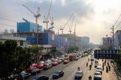 Загрязнение воздуха от серий пыли или PM2 частица 5 превышает стандарт на городе Бангкока, Таиланде стоковое изображение