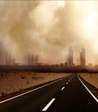 Загрязнение, глобальное потепление и дорога стоковая фотография rf