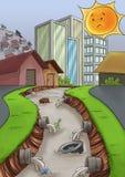 загрязнение города иллюстрация вектора