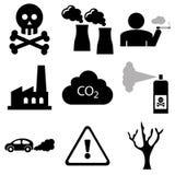 Загрязнение и промышленные значки Стоковое Фото