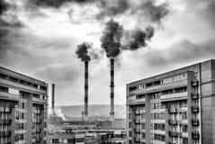 Загрязнение окружающей среды черно-белое Стоковое Изображение RF
