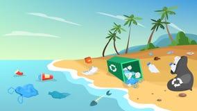 Загрязнение природы Отброс и погань на пляже, опасность иллюстрация вектора