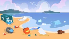 Загрязнение природы Отброс и погань на пляже, опасность иллюстрация штока