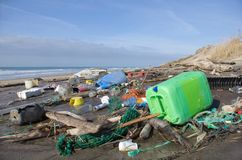 Загрязнение пляжа Стоковое Фото