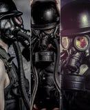 Загрязнение, человек с маской газовой сажи стоковые фотографии rf