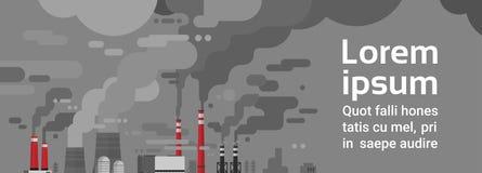 Загрязненная окружающая среда воздуха и воды трубы завода загрязнения природы пакостная ненужная бесплатная иллюстрация