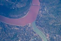 Загрязненное река Чэнду, Китай стоковое изображение