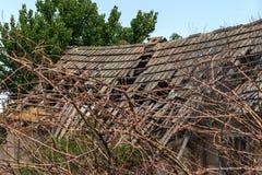 Загубленная стена здания Покинутый к ненужным домам разрушьте Самоуничтожение покинутых зданий Схематически, cri стоковые фото