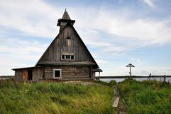 Загубленная церковь на заходе солнца, этом место где они сняли кино русским директором Pavel Lungin Стоковое Изображение