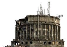 Загубленное здание изолированное на белой иллюстрации 3D Стоковые Фото