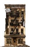 Загубленное здание изолированное на белой иллюстрации 3D Стоковые Изображения