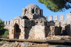 Загубленная византийская церковь внутри замка Alanya Alanya, Турции Стоковая Фотография