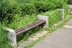 Загубленная скамейка в парке стоковое фото
